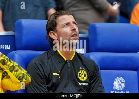 sports, football, Bundesliga, 2017/2018, FC Schalke 04 vs BVB Borussia Dortmund 2:0, Veltins Arena Gelsenkirchen, substitutes bench Dortmund, keeper Roman Weidenfeller (BVB) - Stock Photo