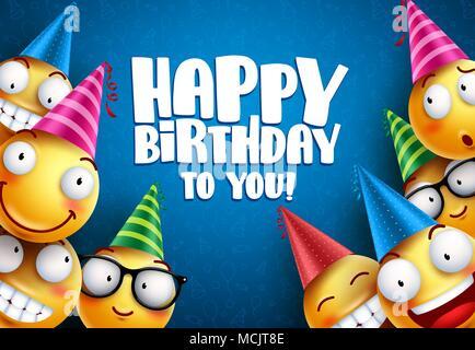 Happy Birthday Design Vector ~ Happy birthday vector design with smileys wearing birthday hat in