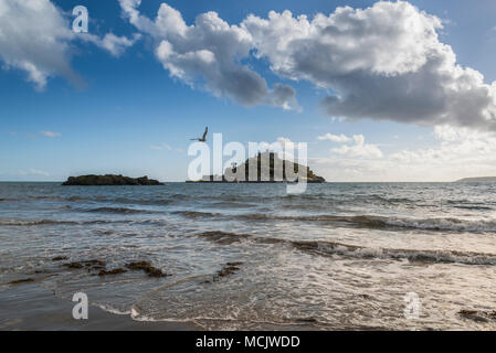 St Michael's Mount from Marazion Beach - Stock Photo