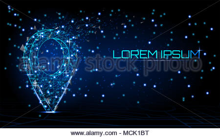 World pin. Business concept, Vector polygonal image in the form of a starry sky or space, consisting of points, lines. World pin, polygonal style - Stock Photo