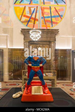 Superman exhibit at Cleveland Public library Ohio - Stock Photo