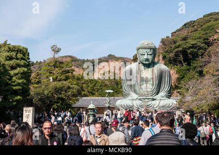 Daibutsu : the bronze statue of Big Buddha in Kamakura, Japan - Stock Photo