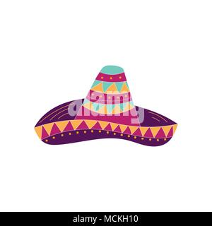 Hand drawn sombrero icon. Can be used for banner or card for Cinco de Mayo celebration. Holiday poster . Vector Mexican fiesta. - Stock Photo