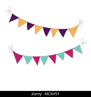 Hand drawn garland  icon. Can be used for banner or card for Cinco de Mayo celebration. Holiday poster . Vector Mexican fiesta. - Stock Photo