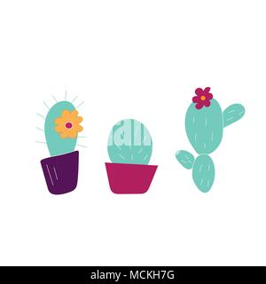 Hand drawn cactus icons. Can be used for banner or card for Cinco de Mayo celebration. Holiday poster . Vector Mexican fiesta. - Stock Photo