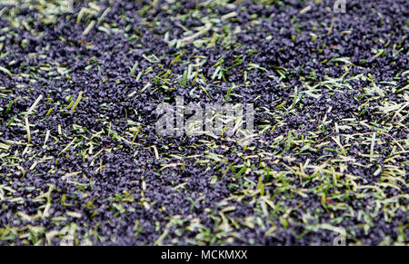 Rubber crumb pellets on an artificial football pitch - Stock Photo