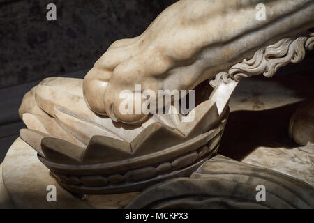 Closeup of a marble lion paw with king's crown - Grand staircase, Royal Palace of Caserta ('Reggia di Caserta'), baroque art, Napoli, Italy - Stock Photo