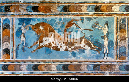 Minoan period. Knossos Palace. Bronze Age. Bull-leaping Fresco, ca. 1400 BC. It depicts a young man performing what seems to be a handspring or flip over a charging bull. Bull Leaping was a local sport, during which the athlete had to execute jumps over and on the bull. It was a ritual dedicated to Apollo. Period MM IIIB. Archaeological Museum of Heraklion. Crete, Greece. - Stock Photo