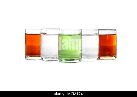 Multicolored transparent cocktails, a set of shots in a heap, a wedge, five servings. Side view Isolated white background. Drink for the menu restaura - Stock Photo