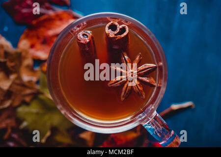 Tea cup with anise stars and cinnamon close-up. Out of focus autumn background with fallen leaves and berries. Rainy day concept with copy space. - Stock Photo