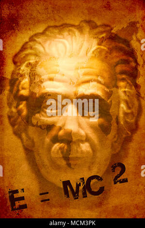 Face of Albert Einstein with world map and math formula, grunge style. - Stock Photo