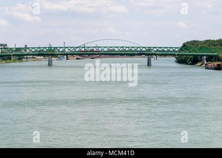 Renewed old bridge over Danube in Bratislava - Stock Photo