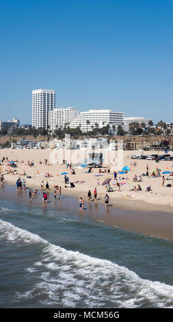 Santa Monica State Beach, Los Angeles, California, USA - September 29, 2017: view from Santa Monica Pier towards the northern part of the beach - Stock Photo