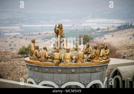 GALILEE, ISRAEL - DECEMBER 3: The statues of Jesus and Twelve Apostles in Domus Galilaeae on the Mount of Beatitudes near the Sea of Galilee, Israel o - Stock Photo