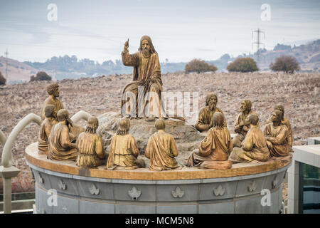 GALILEE, ISRAEL - DECEMBER 3: The statues of Jesus and Twelve Apostles in Domus Galileae on the Mount of Beatitudes near the Sea of Galilee in Galilee - Stock Photo