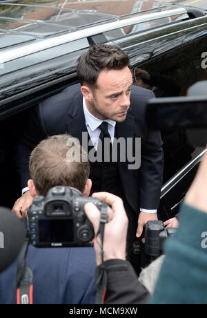 Photo Must Be Credited ©Alpha Press 078237 16/04/2018 Anthony Ant McPartlin arrives at Wimbledon Magistrates Court in London. Ant appears in court charged with drink driving following a three car collision on March 18th 2018. - Stock Photo