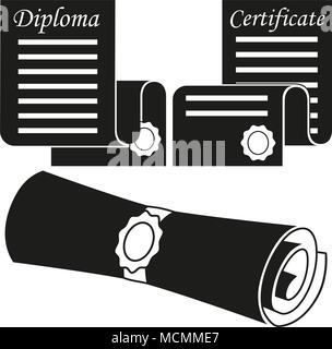 Black and white graduation scroll silhouette set - Stock Photo