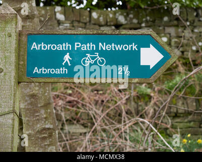 One of several Information and direction Signs to be found on the Arbroath Path Network around the Town in this part of Angus, Scotland. - Stock Photo