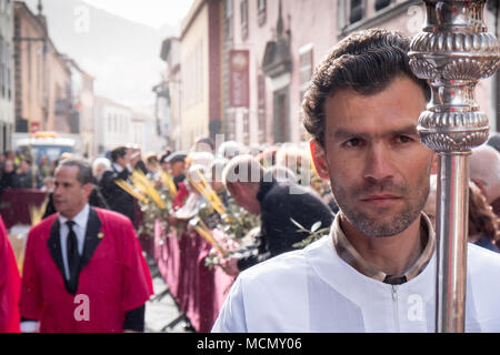 Tenerife, Canary Islands, Church officials on the Palm Sunday Holy Week procession in the town of Laguna. - Stock Photo