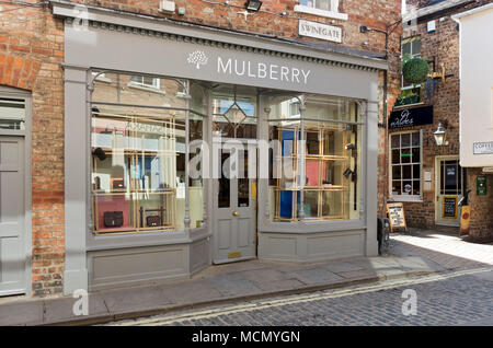 Mulberry shop store in the town city centre Swinegate York North Yorkshire England UK United Kingdom GB Great Britain - Stock Photo