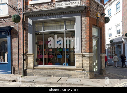 Mulberry shop store in the city town centre Swinegate York North Yorkshire England UK United Kingdom GB Great Britain - Stock Photo