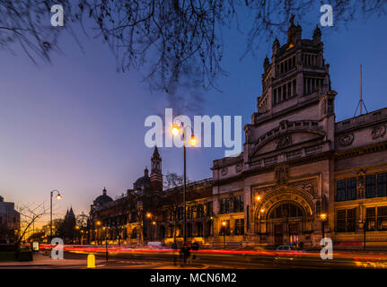 After sunset at the V&A Museum, South Kensington, London, UK - Stock Photo