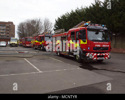 Newcastle Upon Tyne, Tuesday 17th April 2018, UK News. A ground floor flat fire at 'Knott Memorial Flats' in Tynemouth on the banks of the river Tyne in North Tyneside around 11am this morning resulting with one person been rescued as emergency services attended the incident. - Stock Photo