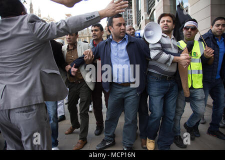 London, UK. 17th Apr, 2018. Hundreds of Bangladeshi people are demonstrating against current Bangladesh Prime Minister on the streets of London, United Kingdom, on April 17, 2018. Credit: Michal Busko/Alamy Live News - Stock Photo