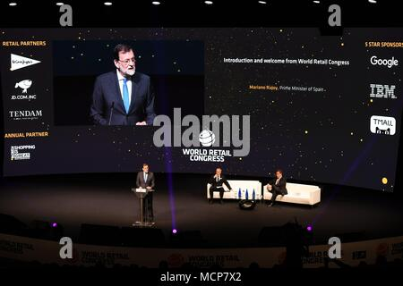 Madrid, Spain. 17th Apr, 2018. Spanish Prime Minister Mariano Rajoy gives a speech at the World Retail Congress in Madrid, Spain, on April 17, 2018. The World Retail Congress inaugurated on Tuesday, the key theme for this year is 'innovate to Win'. Credit: Guo Qiuda/Xinhua/Alamy Live News - Stock Photo