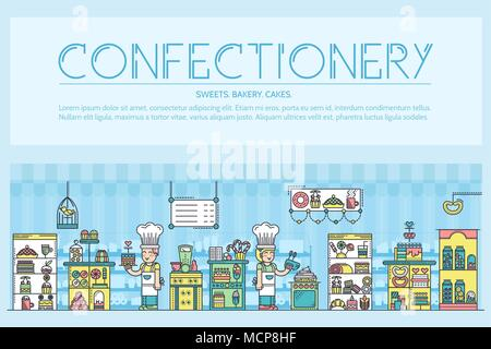 Happy people baking and decorating cakes in confectionery shop outline concept.  Confectioners making sweets thin line vector illustration design - Stock Photo