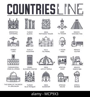 Country travel collextion set. Set of architecture, fashion, people, item, nature background concept. Infographic traditional ethnic flat, outline, thin line icon  - Stock Photo
