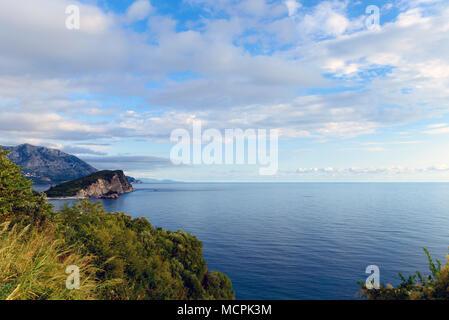 Beautiful view of the Adriatic coast of Budva riviera - Stock Photo