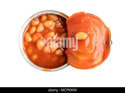 Top view of tomato sauce beans canned in metal tin - Stock Photo