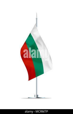 Small Bulgarian flag  on a metal pole. The flag has nicely detailed textile texture. Isolated on white background. 3D rendering. - Stock Photo