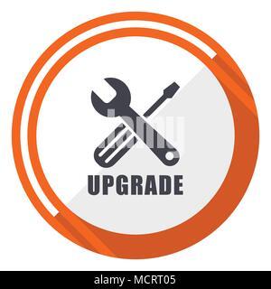 Upgrade flat design orange round vector icon in eps 10 - Stock Photo