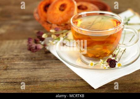 Tea border, organic food background - Stock Photo