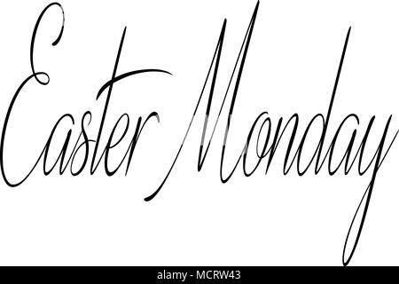 Easter Monday text sign illustration on white Background - Stock Photo