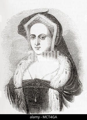 Catherine Howard, c. 1523 – 1542.  Queen of England from 1540 until 1541, as the fifth wife of Henry VIII.  From Old England: A Pictorial Museum, published 1847. - Stock Photo