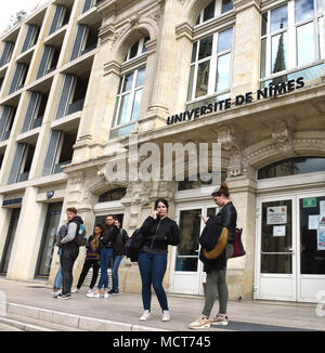 Students outside NImes University in France - Stock Photo