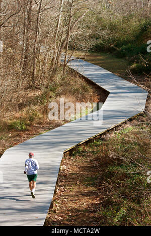 A senior man runs alone along a jogging path made of wooden decking in the middle of the woods. - Stock Photo