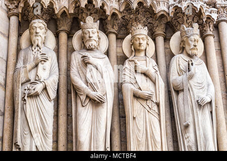 Sculptures on the West facade of  Notre Dame Cathedral (Cathedrale Notre Dame). Paris, France. - Stock Photo