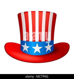 Independence Day patriotic illustration. American cowboy hat with stars and stripes - Stock Photo