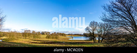 Panorama of Cheshire landscape and countryside near Knutsford UK in warm spring sunshine - Stock Photo
