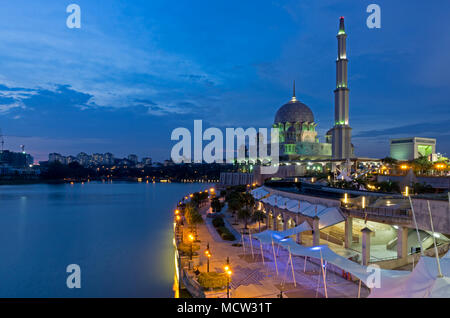 Night view of Putrajaya Mosque in Federal territory on Malaysia - Stock Photo