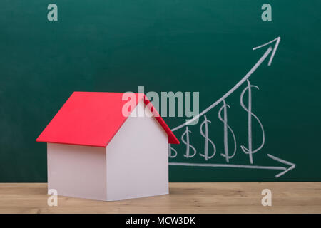 Close-up Of A House Model With Red Roof On Wooden Desk - Stock Photo