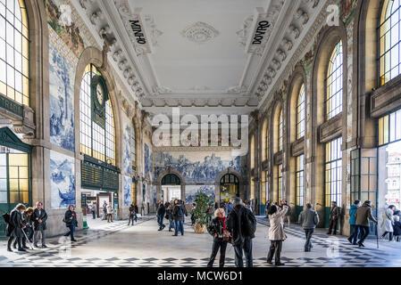 sao bento central railway station landmark interior in porto portugal - Stock Photo