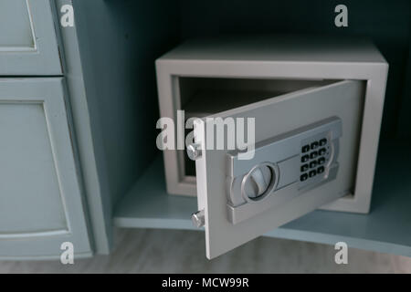 Open Safe In A Wealthy House Safety Box In Hotel Room