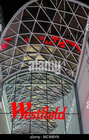 Entrance to Westfield Shopping Centre in Shepherds Bush, White City, London, UK - Stock Photo