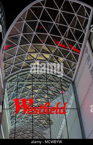 Entrance to Westfield Shopping Centre in Shepherds Bush, White City, London, UK - Stock Photo