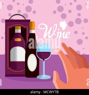 Wine in box with cups - Stock Photo